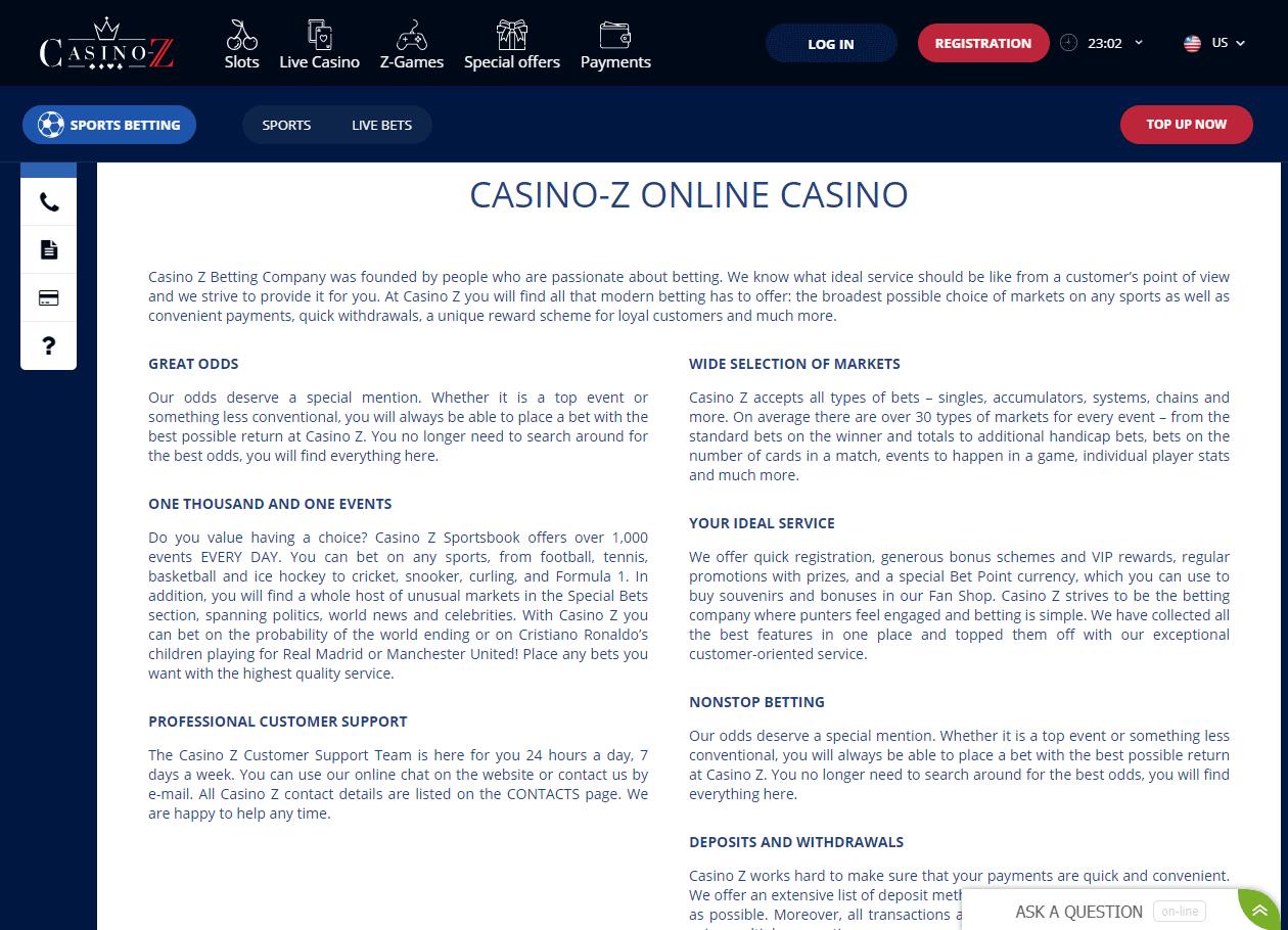 cazino z general information