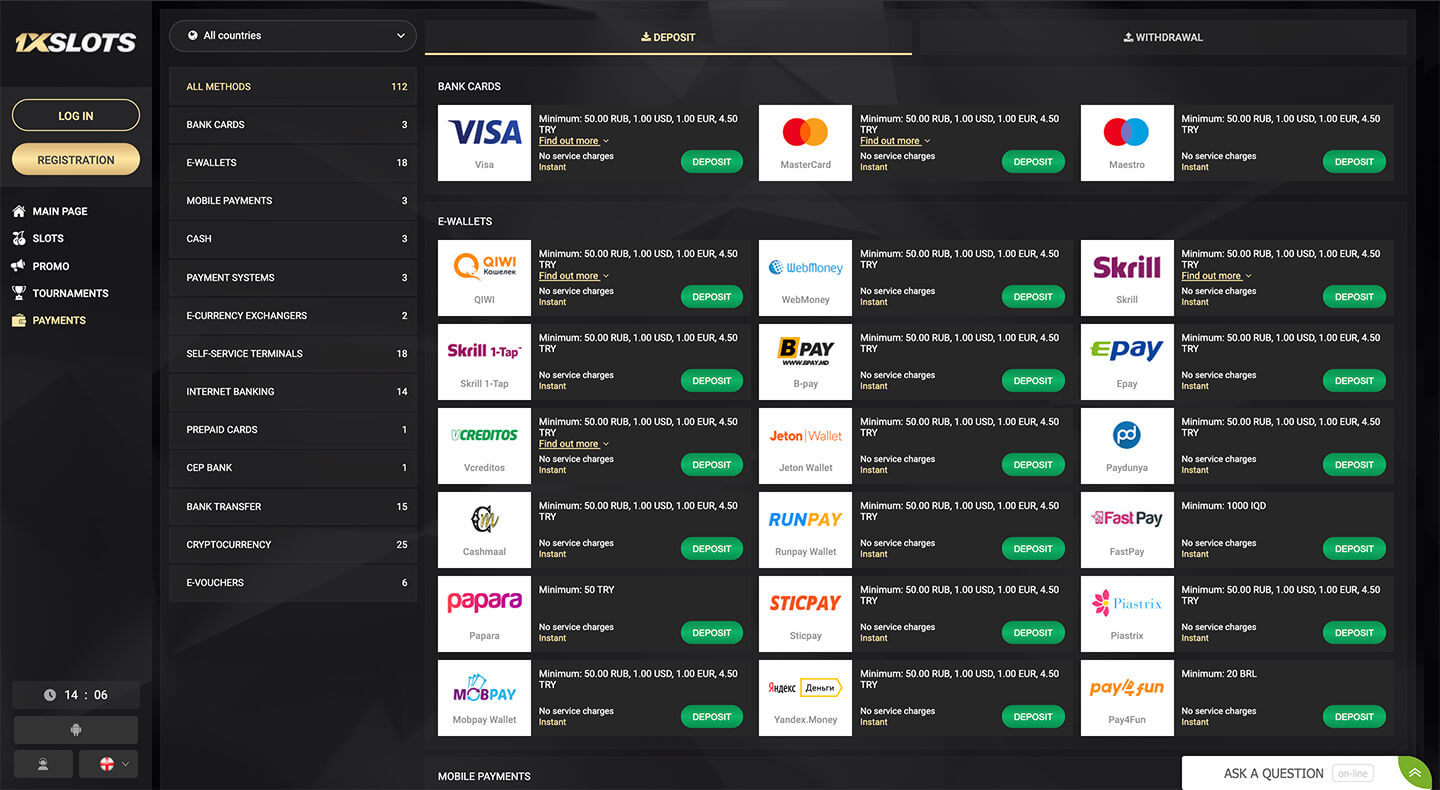 1xslots payment and withdrawal methods