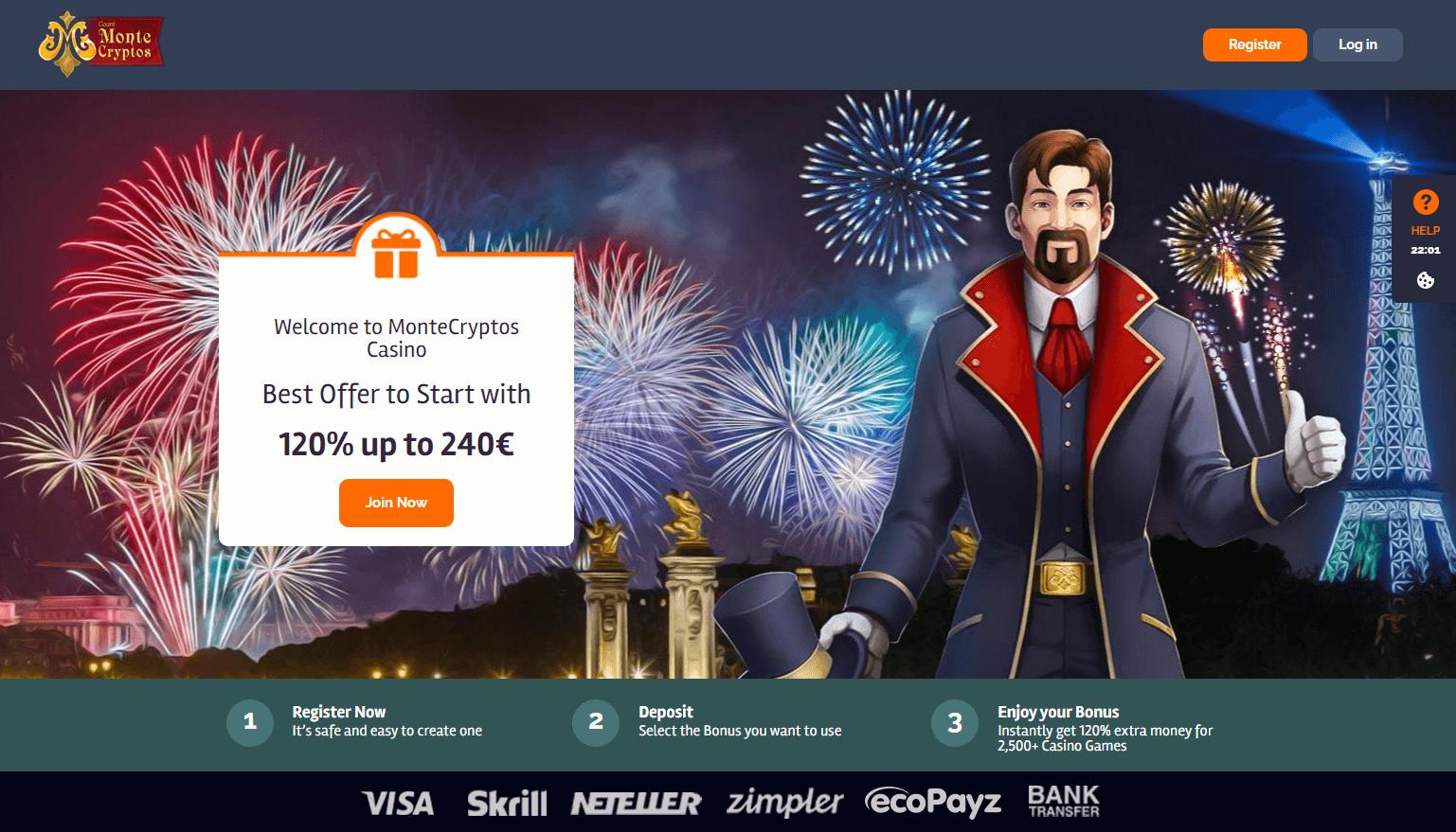MonteCryptos Casino Welcome Bonus