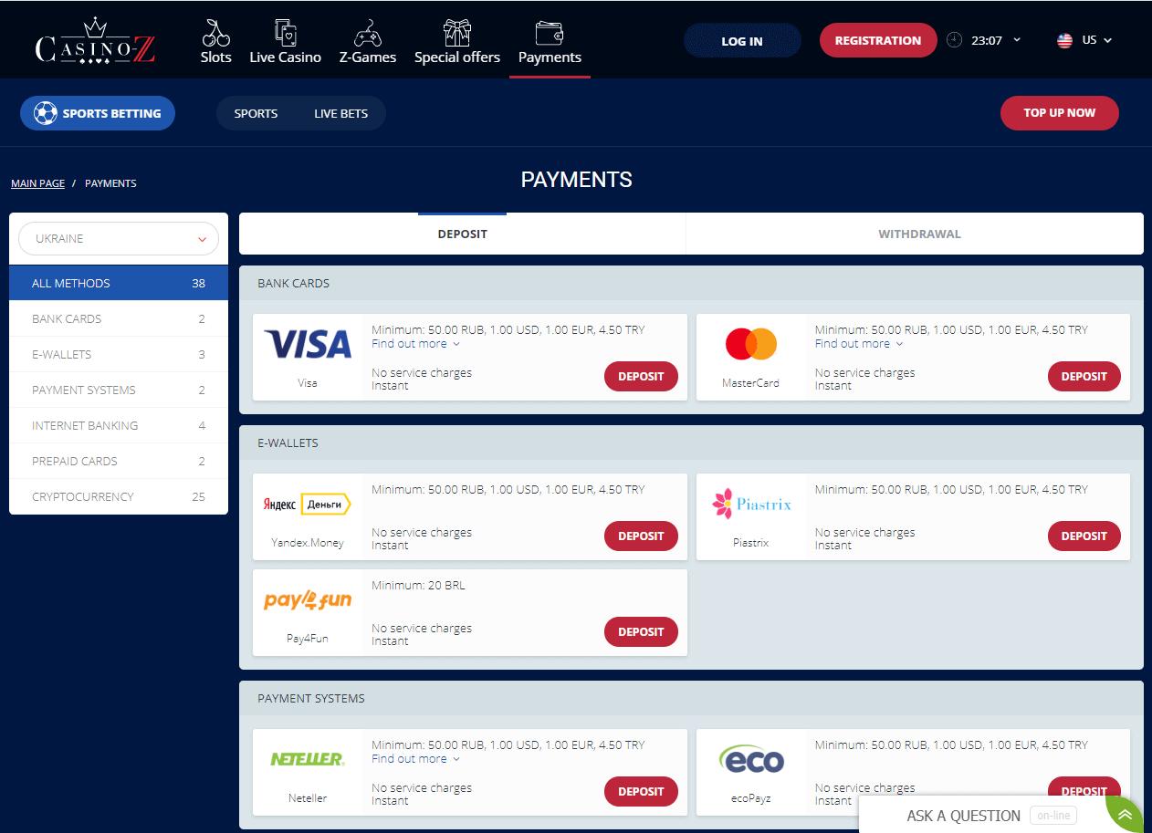 casino z pay method