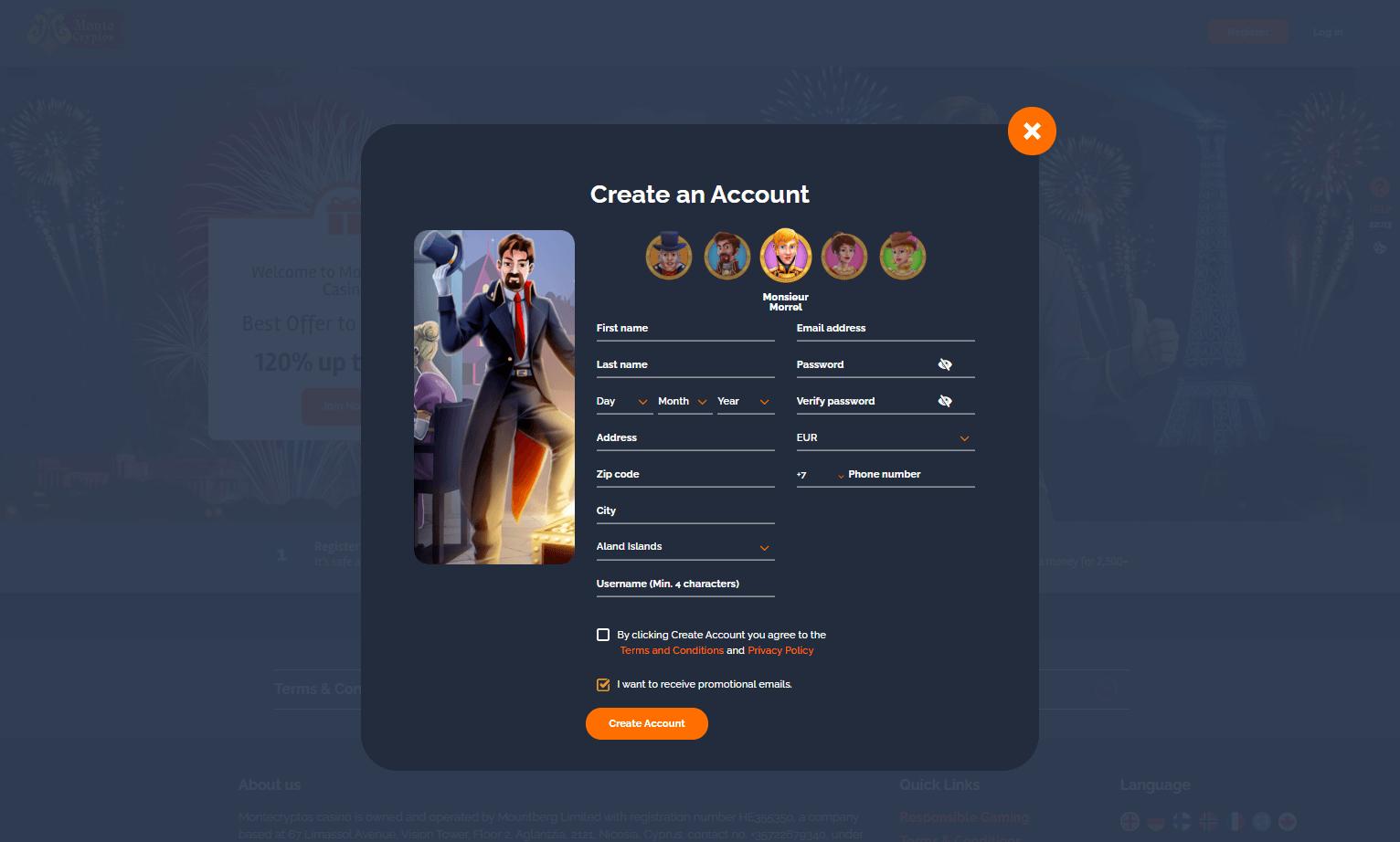 MonteCryptos Casino Registration