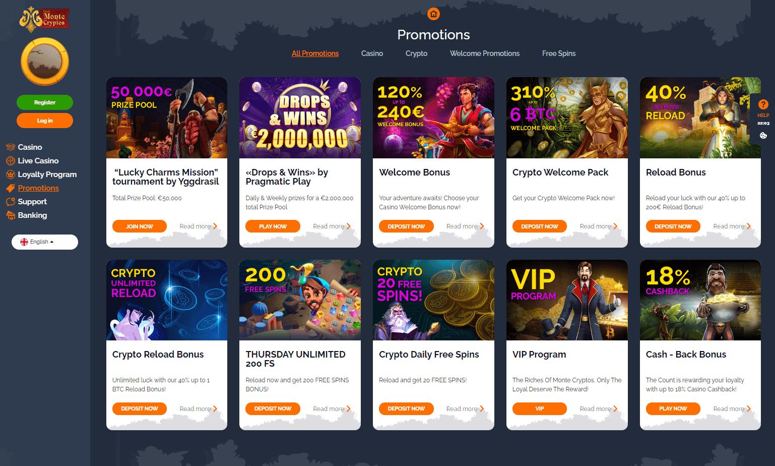 MonteCryptos Casino Bonuses