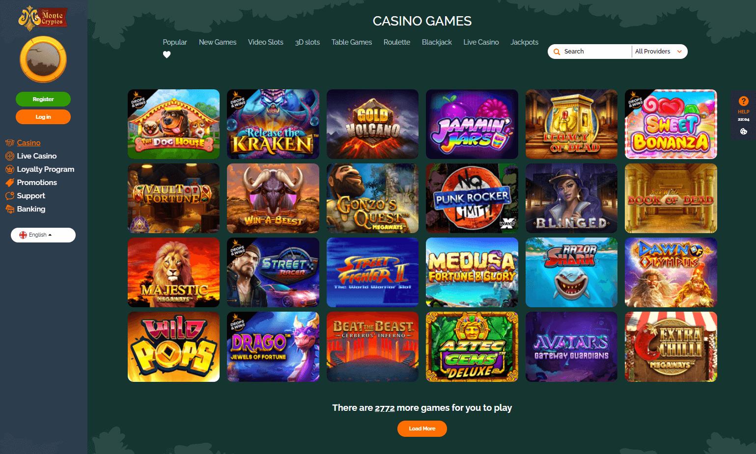 MonteCryptos Casino Games