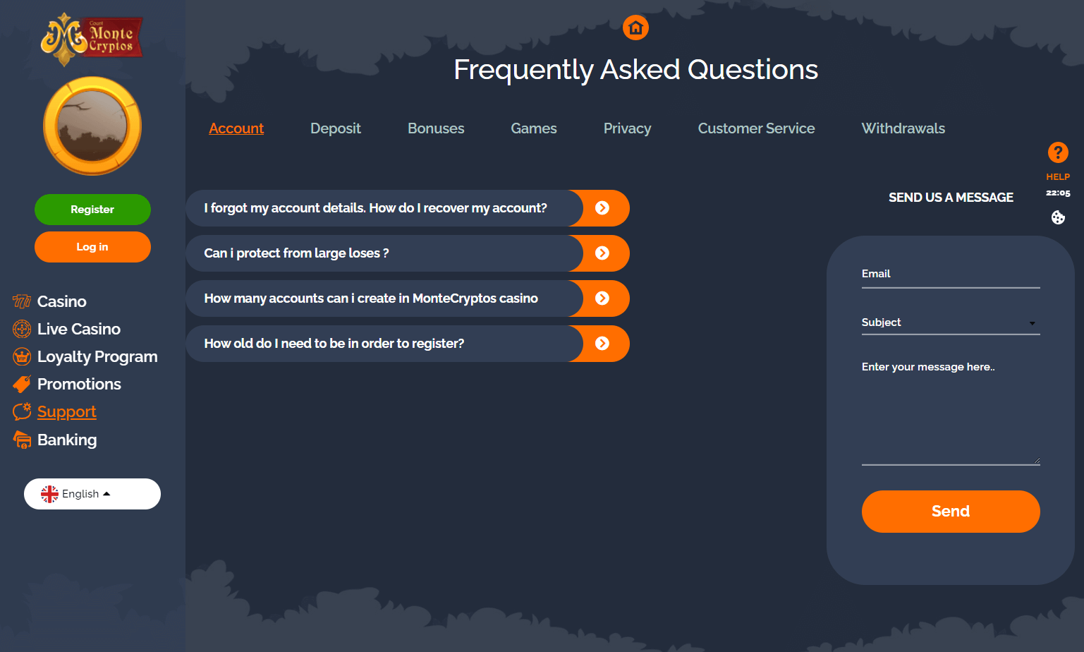 MonteCryptos Casino FAQ