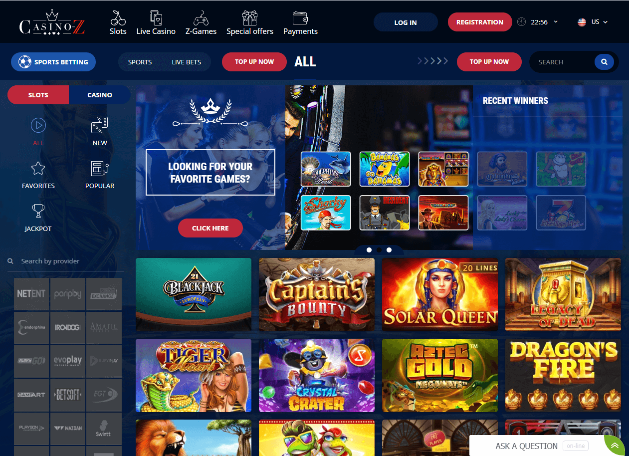 Casino Z Interface