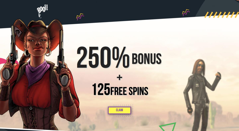booi casino - wekcome bonus 250% + 125 free spins