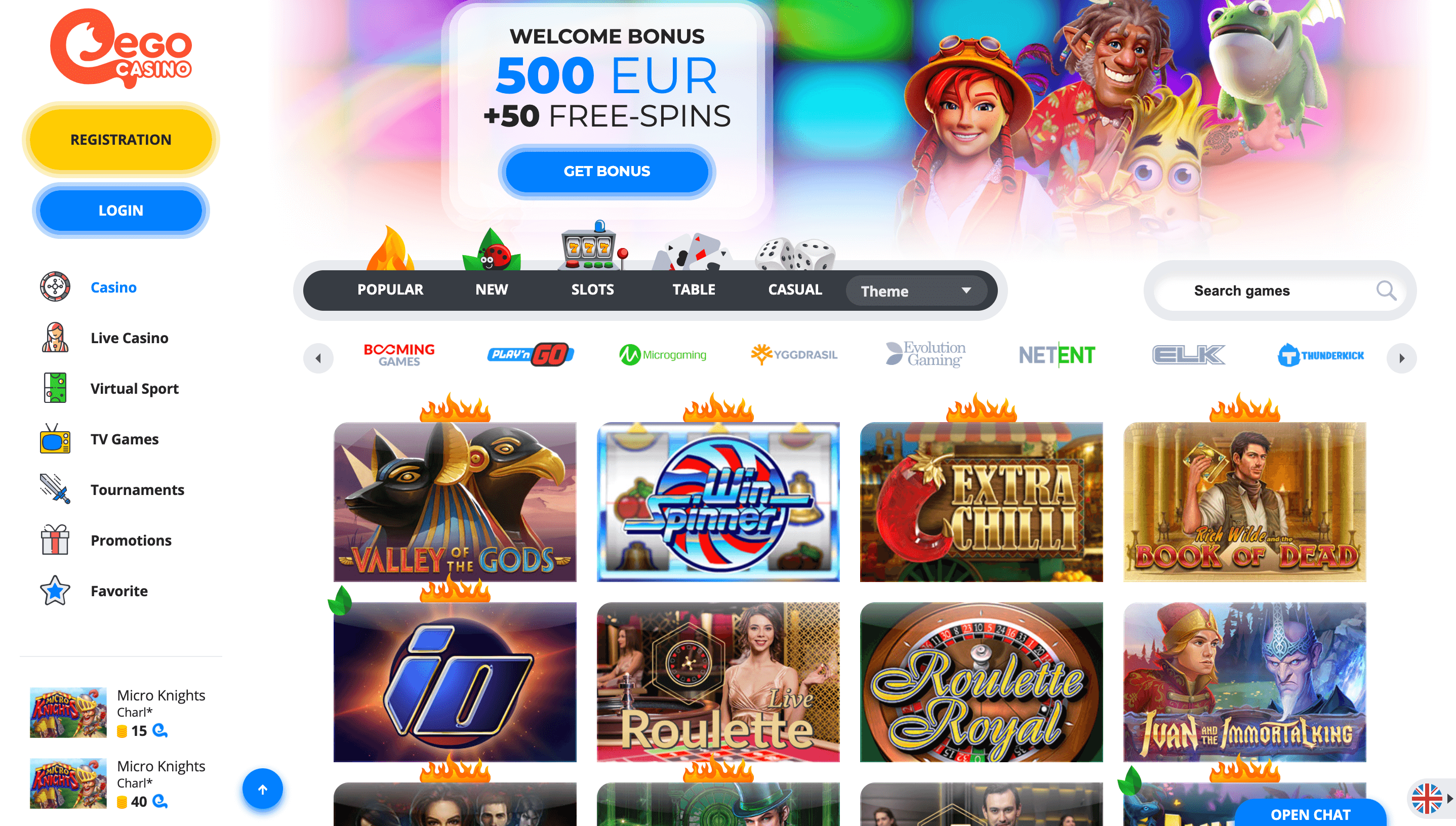ego casino website page