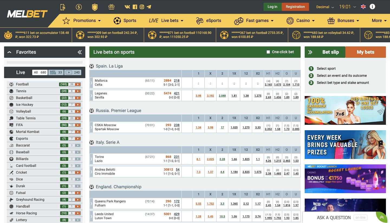 melbet casino betting
