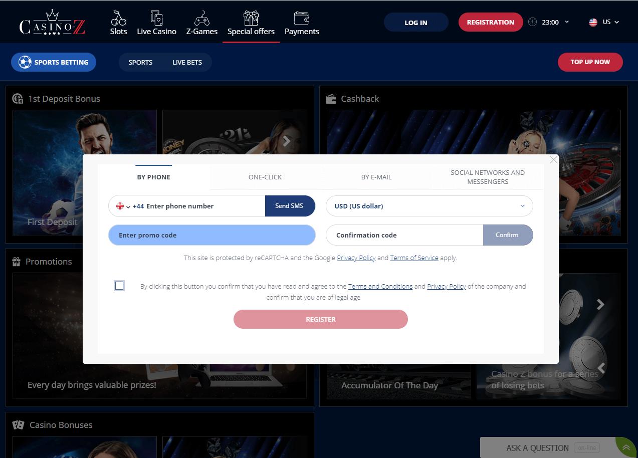 casino z registration