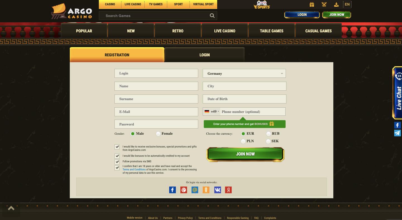 argo casino registration