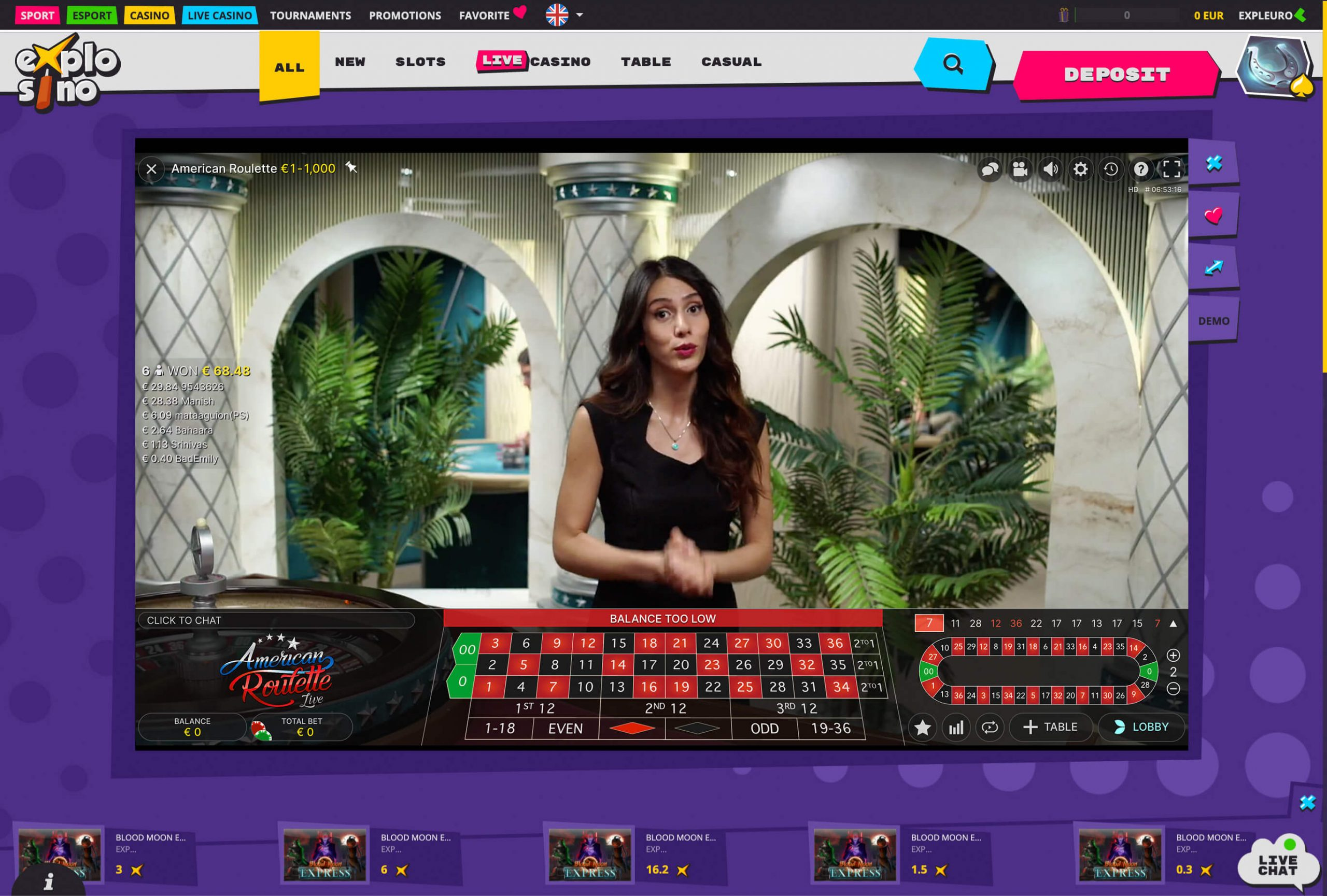 Explosino casino live game