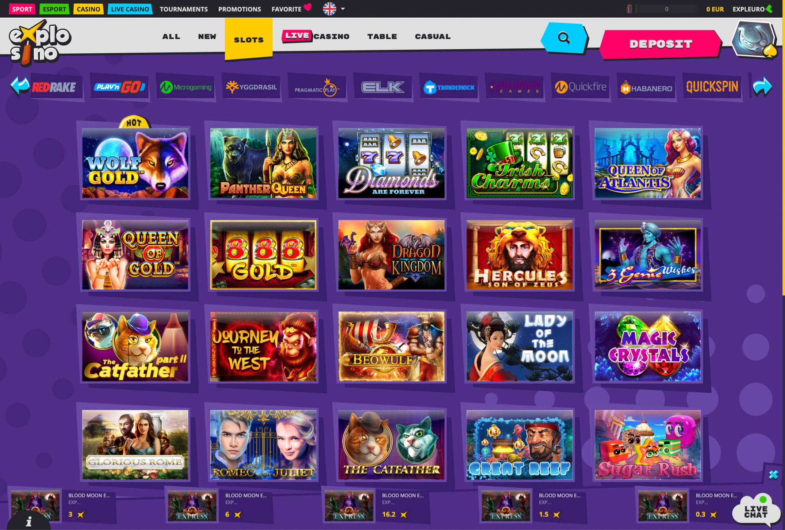 Explosino casino games