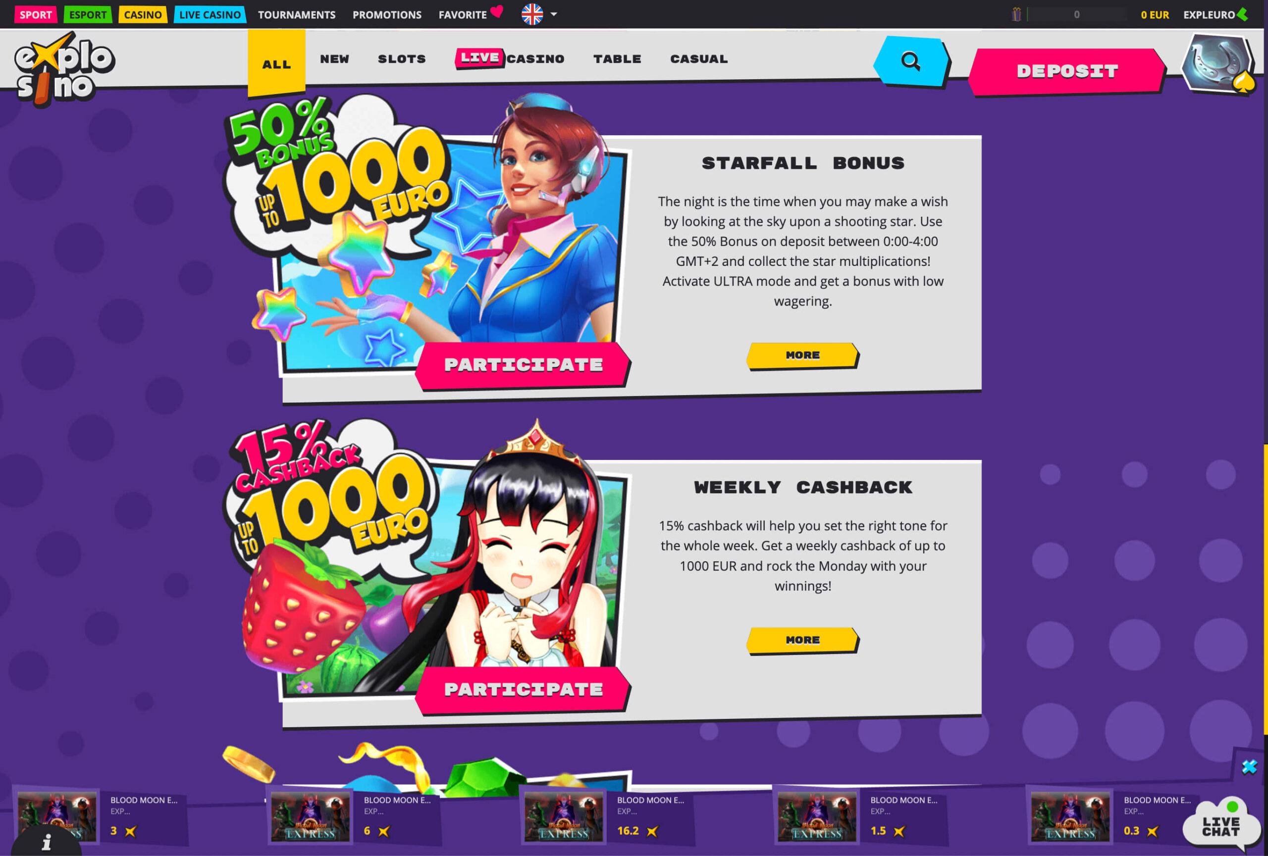 Explosino casino bonuses