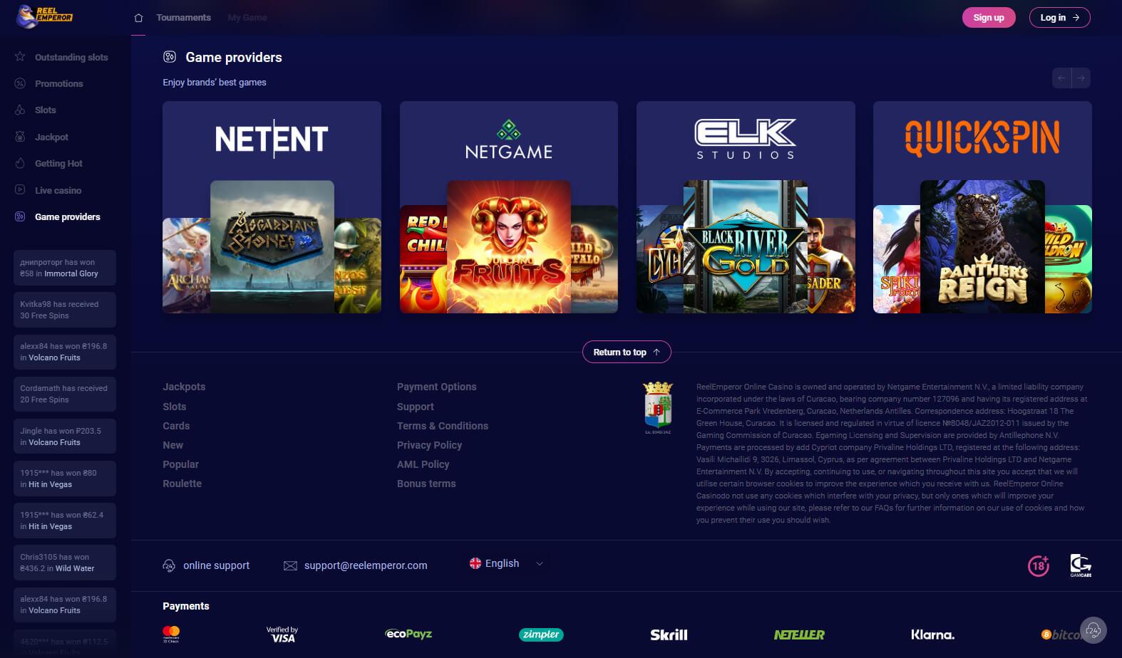 reelemperor casino game providers