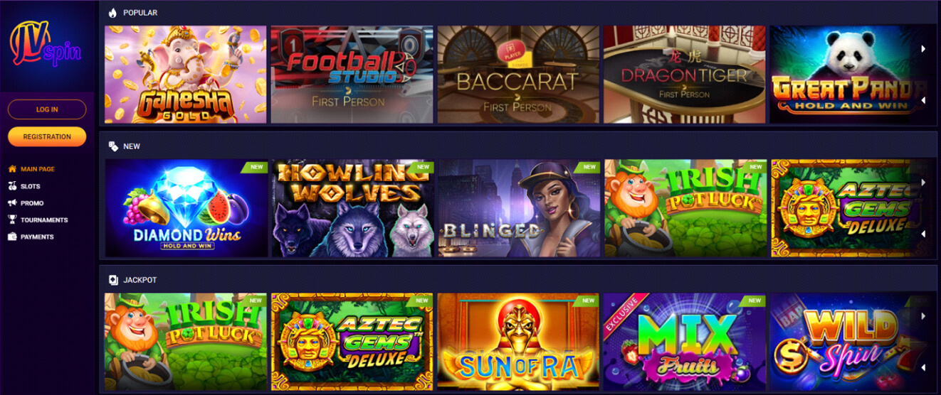 JV spin Casino games Review