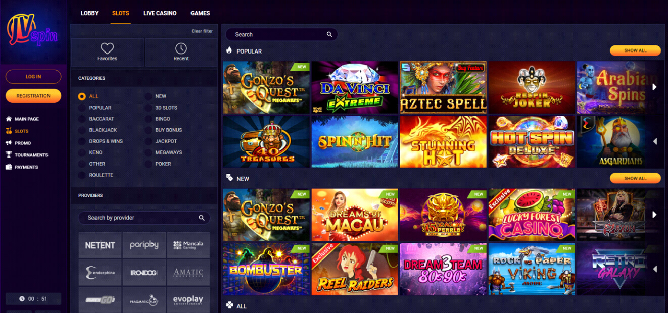 JV spin Casino slots Review