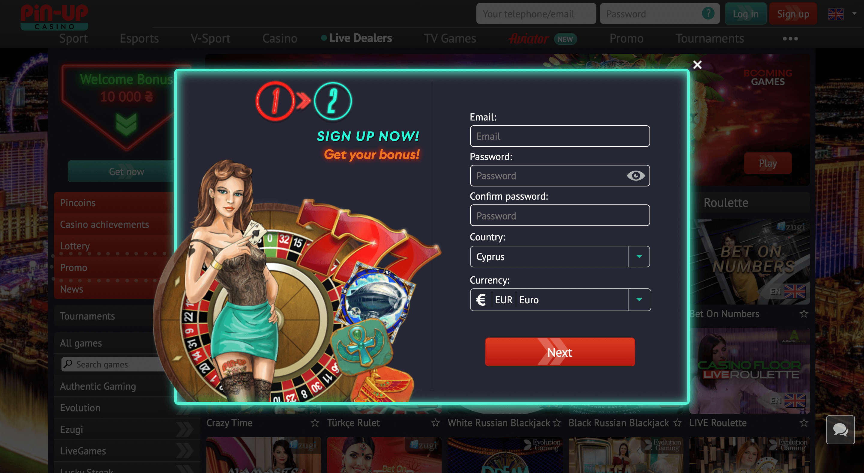 pin up casino registration